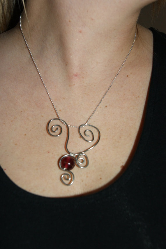 Pendant  Silver Spirals with Red Bead by KitchenWiring on Etsy, $27.00