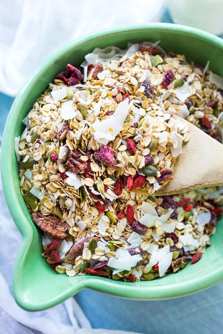 Morning Glory Muesli- a healthier, sugar-free, low- fat alternative to granola. | www.feastingathome.com