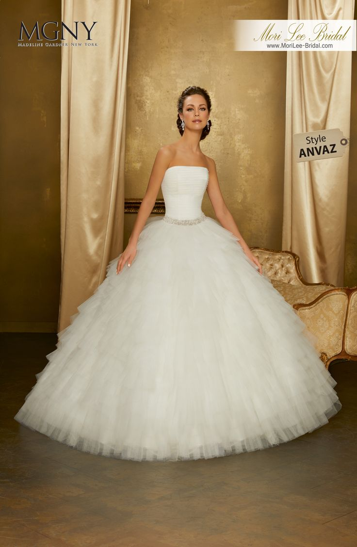 Style ANVAZOdianeRuffled tulle ball gown with diamanté and pearl encrusted waistband on a draped bodice