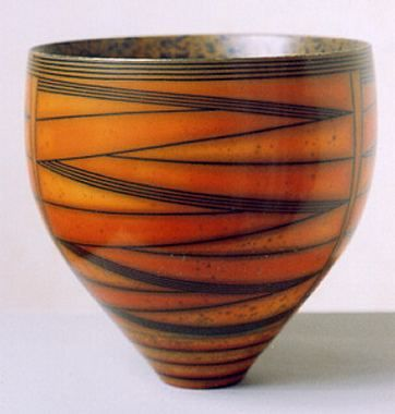 Ceramics by Duncan Ross at Studiopottery.co.uk - Produced in 2003. Flame coloured bandanges