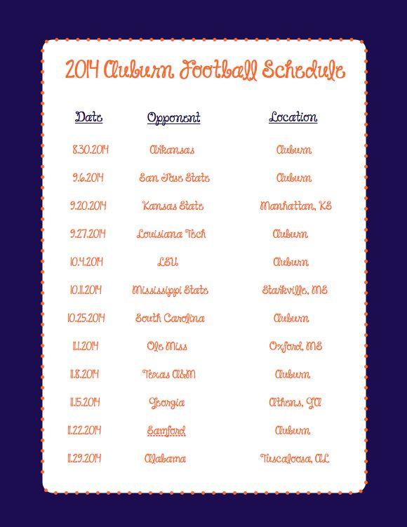 2014 Auburn Football Schedule!