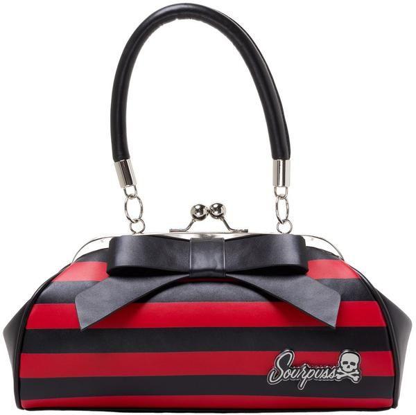 Kabelka Sourpuss - Red/black stripes