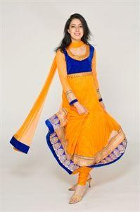 Show details for Tangerine Orange and Blue Anarkali