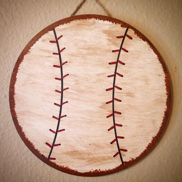 Baseball Nursery Wall Hanging-Baseball Hanging-Vintage Baseball-Nursery Decor-Baseball Room-Wood Ball-Baseball Nursery-Sports Nursery-Sports by AJsPrivyCreations on Etsy https://www.etsy.com/listing/231639566/baseball-nursery-wall-hanging-baseball