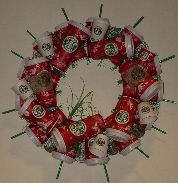 and I can definitely drink enough coffee to whip this baby up in a gold card blink of the eye (Starbucks Wreath by thedaisychick, via Flickr)