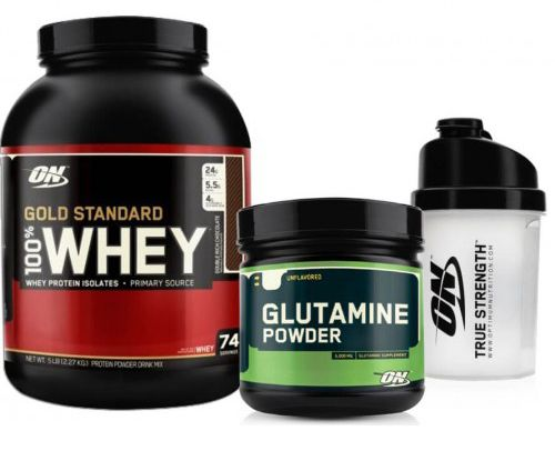 Optimum Gold Standard Whey 2273 gr + Optimum Glutamine Powder 630gr + Shaker Kombinasyonu, whey protein tozu, 630 gr glutamin amino asit ve shaker içeren supplement kampanyasıdır.