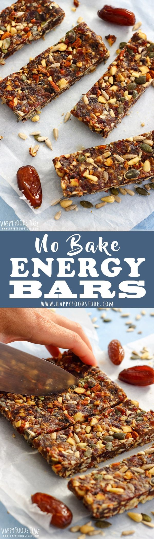 These chewy No Bake Energy Bars are rich in fiber, antioxidants and vitamins. This easy no bake healthy snack is also gluten-free and vegan. #nobake #energybars #glutenfree #homemade #recipe #vegan #howtomake #healthy #snack #easy #simple #quicksnack via @happyfoodstube