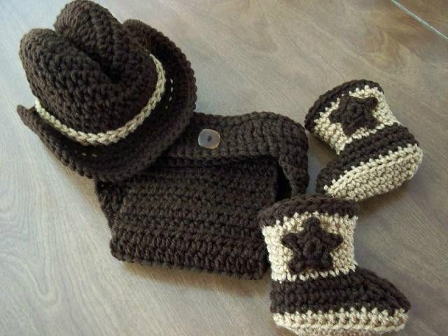 4 PC SET! COFFEE baby Cowboy Cowgirl HAT BOOTS DIAPER crochet 0-3 PHOTO PROP  #Handmade
