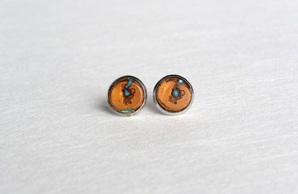Wooden ear studs with turquoise,wooden earrings,wooden earrings stud by Mazunii on Etsy