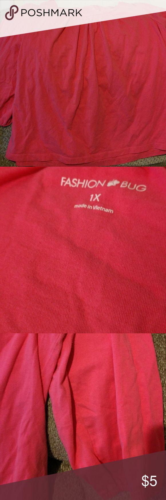 1x coral shirt 1x Fashion Bug coral shirt 3/4 sleeves lightly used Fashion Bug Tops Blouses