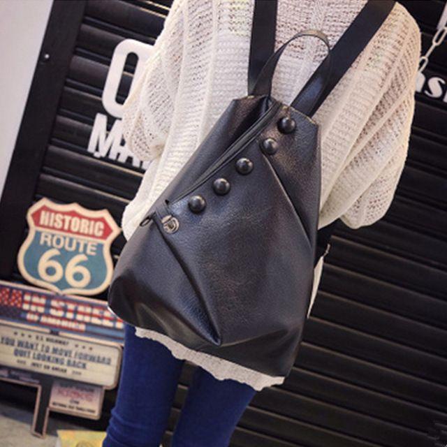 Высокое качество кожа женщины рюкзак мода кнопки рюкзаки для девочек-подростков черный свободного покроя путешествия мешок школы # WYL189
