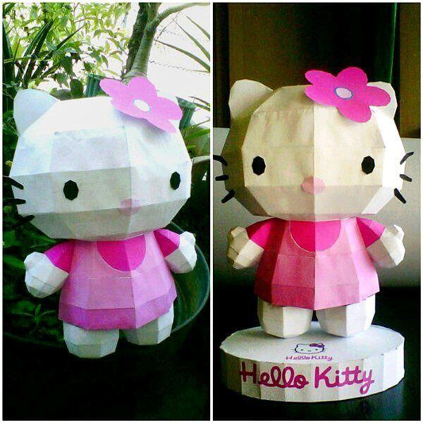 Cute pink Hello Kitty (23 cm) . #papercraft #hellokitty #paper #papermodel #DIY #creative #kerajinantangan #kreatif #hellokittylover #hellokittyindonesia #hellokittyfan