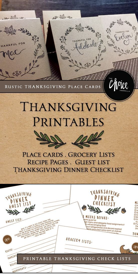Free Thanksgiving Printables – Thanksgiving Place cards, Thanksgiving Dinner Che…
