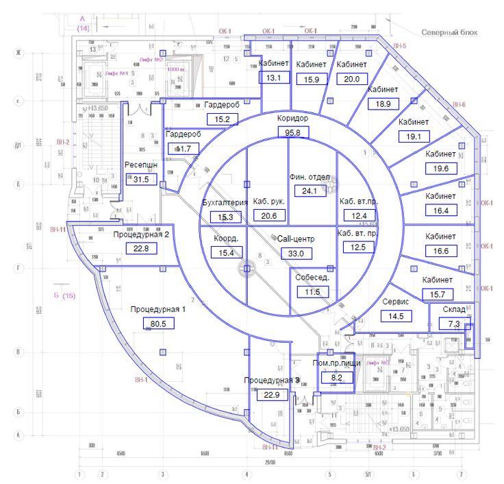 Концепция размещения кабинетов салона красоты по требуемым нормативным площадям. Круговая планировка офисного кабинетного пространства.  The concept of accommodation of beauty salons for the required normative areas. Circular layout of office space. Openspace