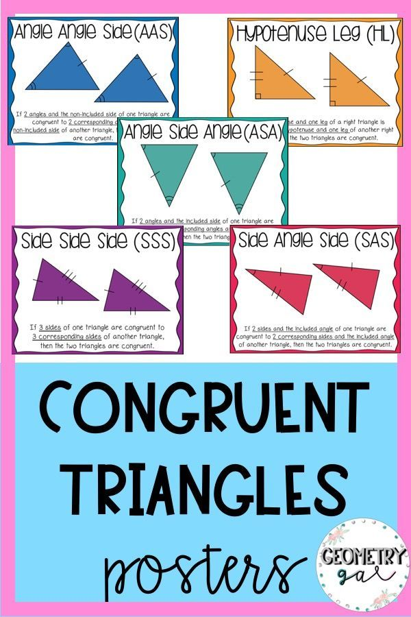 Congruent Triangle Posters Geometry Word Wall Free Math Lessons Math Posters High School Geometry Words