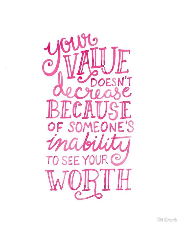 Your Value Inspirational Hand Lettered Quote Pink On Black by Kit Cronk