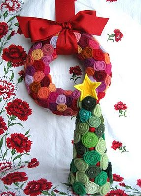 Felt Rosettes Wreath and tree... tree would be cute made with fabric yoyos, too!