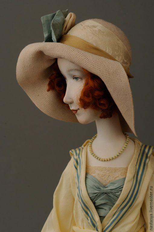 """Купить Авторская кукла """"Южный берег"""" - белый, шелк, южный берег, морской стиль, шляпка"""