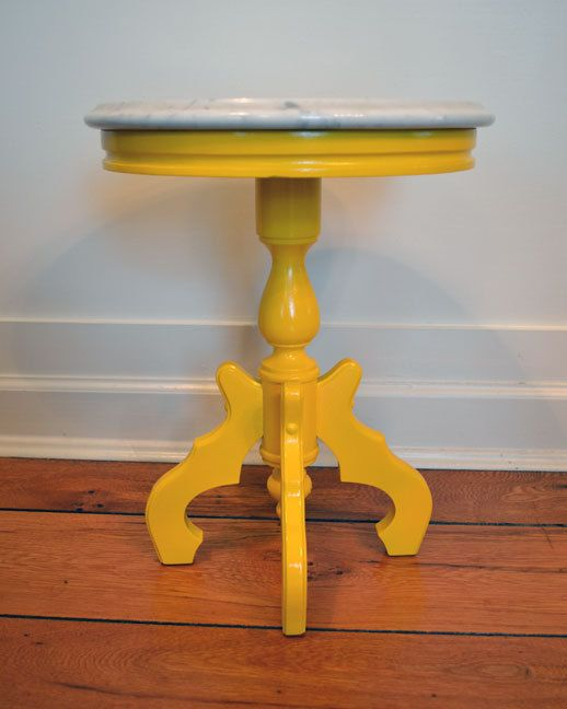Small Painted Yellow Marble Top Round Side Table by dwellbeing