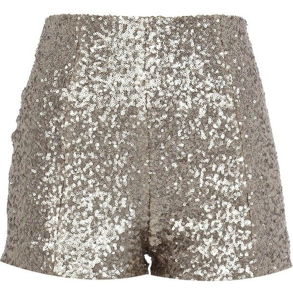 River Island Silver sequin short ($22) found on Polyvore