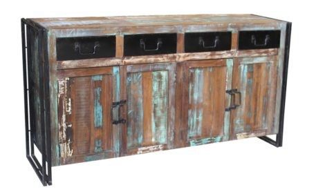 Recycled Timber and Metal Side Board.  4 Drawers and 4 Doors