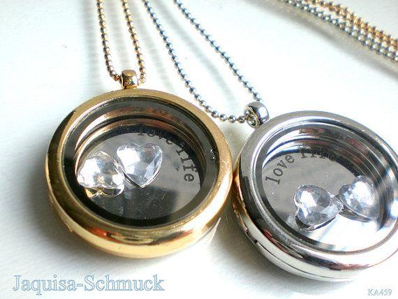 Kette Damen Medallion Valentinstag Liebe silber von JaquisaSchmuck