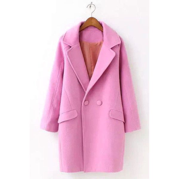 Yoins Pink Lapel Woolen Duster Coat (€60) ❤ liked on Polyvore featuring outerwear, coats, black, pink duster coat, pink wool coat, pink coat, duster coat and lapels wool coat
