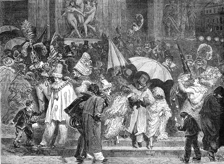 Outside the Paris Opera house after the recent bal masque The Illusrrated sporting and dramatic news 1877 february 10