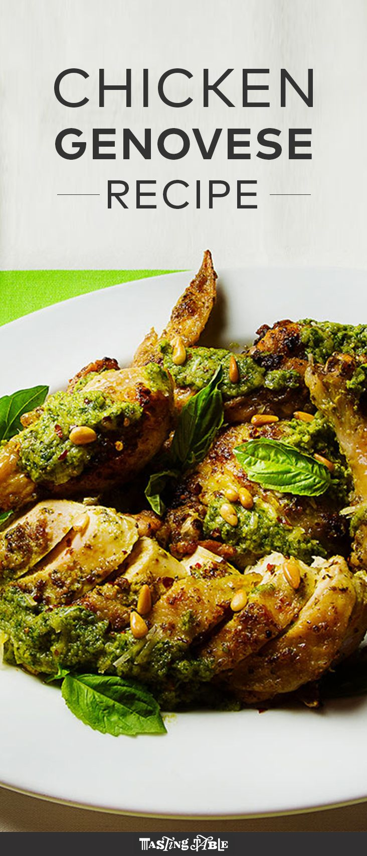 Rich pesto is rubbed under the skin before roasting for this herb-packed spring dish.