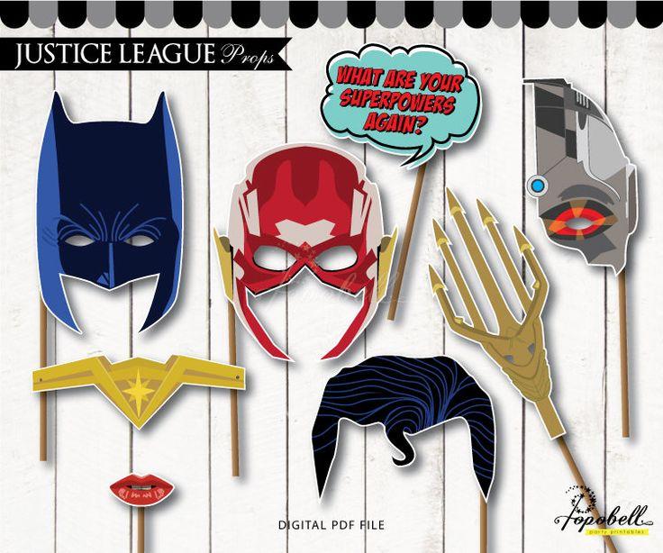 Justice League Props Printable. Justice League Birthday. Superhero Props. Superhero Photobooth Props. Superhero Party. DC Comics DIGITAL PDF