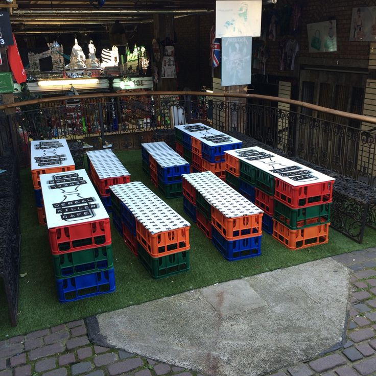 milk crate benches and tables in camden locks cereal killer cafe