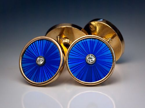 Antique Russian Imperial Era Double Cufflinks     made in St Petersburg between 1908 and 1917    These superb quality antique cufflinks are handcrafted in 56 zolotniks (14K) rose gold, and embellished with blue translucent guilloche enamel.     Each enameled disc is set with a brilliant diamond.