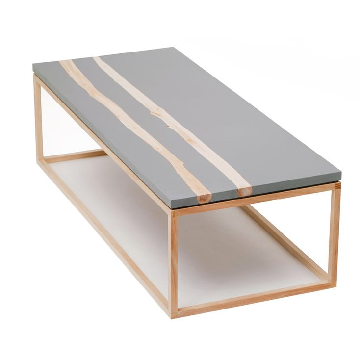 Elegant coffee table, bleached beech wood with salvage birch branches in grey resin