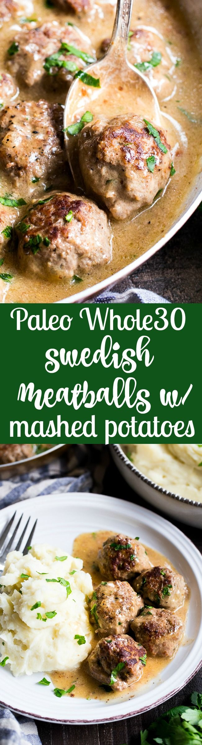 These Paleo Swedish meatballs in a creamy gravy, with dairy-free, Whole30 friendly mashed potatoes are pure comfort food for cold nights. Made with real-food ingredients, gluten-free, dairy-free, family approved!