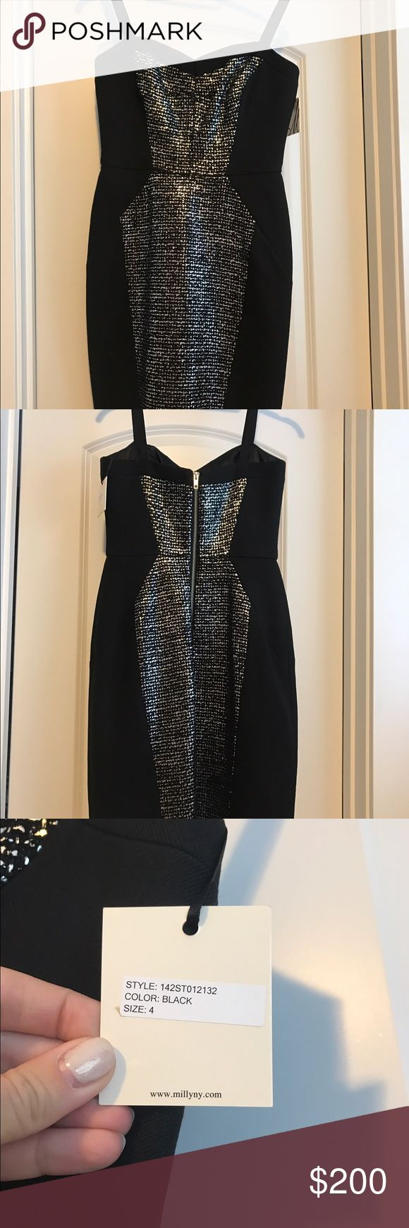 NWT Milly metallic cocktail dress with straps Gorgeous new with tags, never worn Milly cocktail dress with metallic tweed. The shape of the metallic is super flattering. Exposed zipper in back. Straps would be very easy to cut off and wear as strapless style. This is a winter cocktail dress- very tough to find! Size 4 Milly Dresses