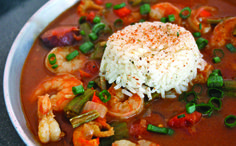 Gumbo recipe byChef Craig Bedell of Big Daddy's Makes approximately one gallon ½ cup andouille sausage ½ cup smoked turkey ½ cup tasso ham 1 cup onions ½ cup chopped celery ½ cup chopped bell peppers 2 tbsp chopped garlic 2 oz oil or butter 1 tsp salt 1 tsp black pepper ½ tsp crushed