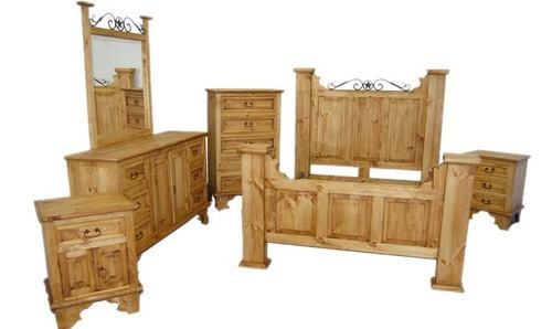 4 PC Rustic Natural Wax Hacienda Queen Size Bedroom Set