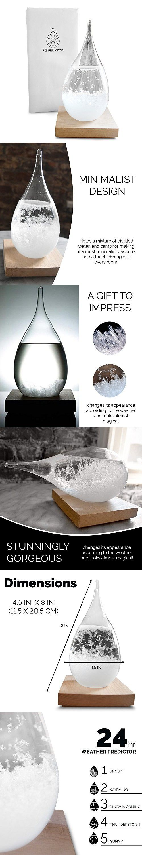 FLT Storm Glass Weather Predictor - Weather Monitor & Forecaster – Creative Unique Drop Bottle Barometer - Home Office Decor Lamp Decorative Craft Piece, Gift Idea For Every Occasion