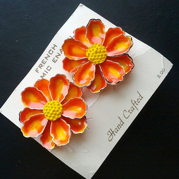 Vintage French Ceramic Enamel Flower Earrings-60's Orange Bright Neon Clips