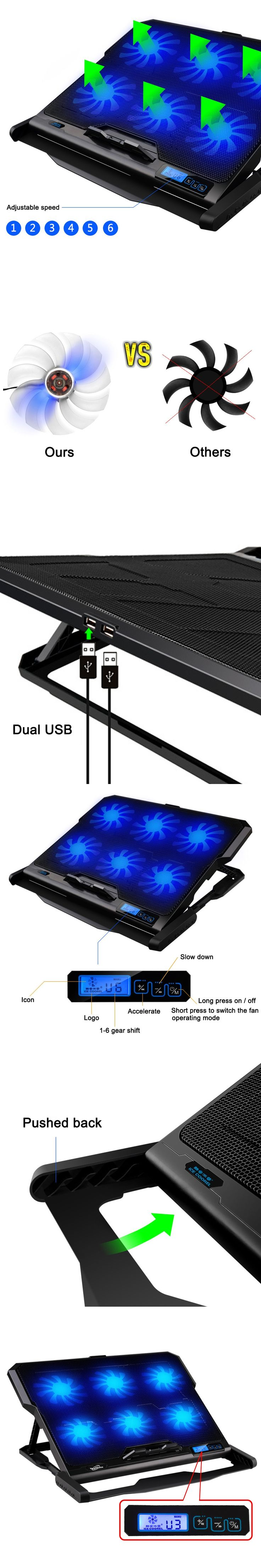 "Laptop cooler 2 USB Ports and Six cooling Fan laptop cooling pad Notebook stand For 14.6""-16""  fixture for laptop"