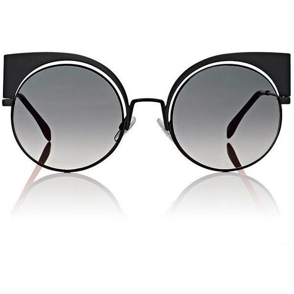 Fendi Women's FF0177 Sunglasses ($555) ❤ liked on Polyvore featuring accessories, eyewear, sunglasses, glasses, black, fendi sunglasses, cat-eye glasses, rounded sunglasses, cateye sunglasses and round sunglasses