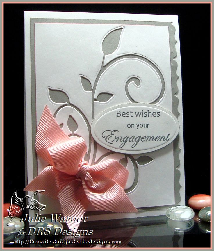 Handmade grey and white engagement card created by Julie Warner and also displayed on DRS blog. Like the use of the negative of the die cut leaves.