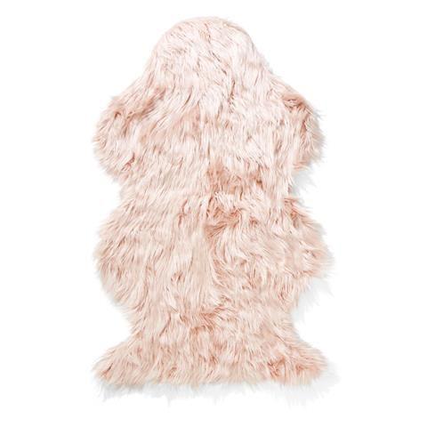 Wellington Faux Fur Rug - Pink | $19 Kmart AU