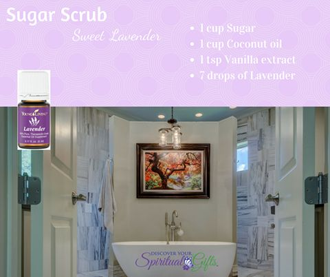 Love the sweet smell of lavender? Then you'll adore this sugar scrub recipe.   Get your oils here: https://youngliving.org/vialetrayne