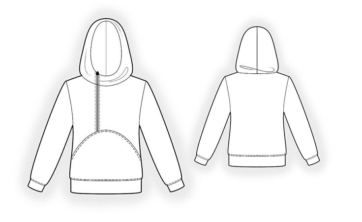 Hoodie  - Sewing Pattern #4341 Made-to-measure sewing pattern from Lekala with free online download. Semi-fitted, Waist seam, Asymetrical, Zipper closure, Hood, Long sleeves, Set-in sleeves, Cuff sleeves, No pockets