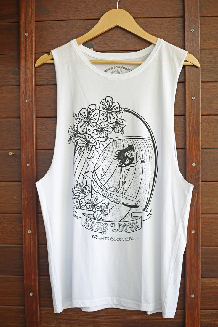 HANG LOOSE 70'S MEN'S T-SHIRT OR  TANK IN WHITE. Quality materials, pre-shrunk with cool internal printed tag for comfort and style. Drawn to good vibes - Drawn Downunder.