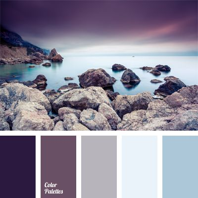 Shades Of The Eggplant Color Match The Pastel Shades Of Blue Very  Harmoniously. This Palette Of Cold Colors Is Appropriate For Bedroom  Decoration.