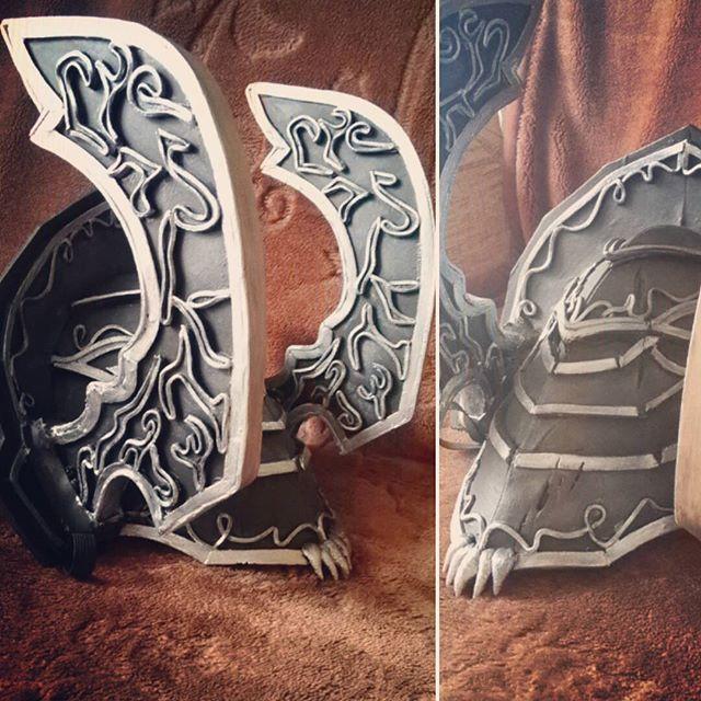 Spam bo progres ;-; widac niedoskonałości ale chyba nie ma tragedii. Prawda? ;3 bazowa warstwa koloru już jest #cosplay #painting #costume #armor #mozgie #workinprogress