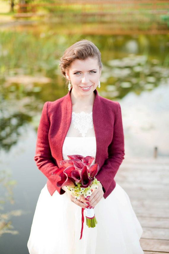 Bridal Jacket  burgundy wedding  Autumn Elegant by DressInFelt