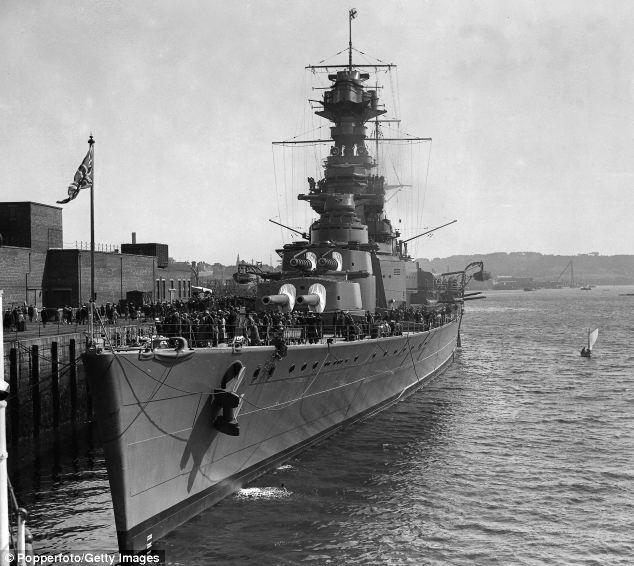 Powerful: The British battle cruiser HMS Hood pictured docked at the Devonport Dockyard, Devon, in 1928, lost more than 1,400 men when it was attacked